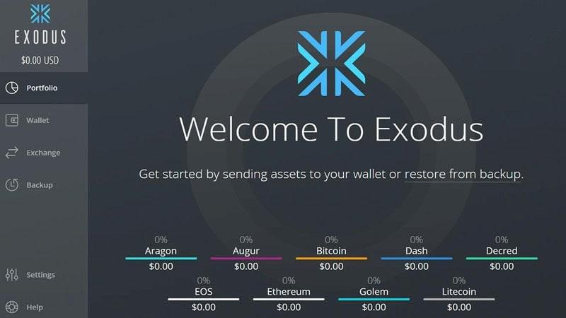 کیف پول از نوع دسکتاپ Exodus
